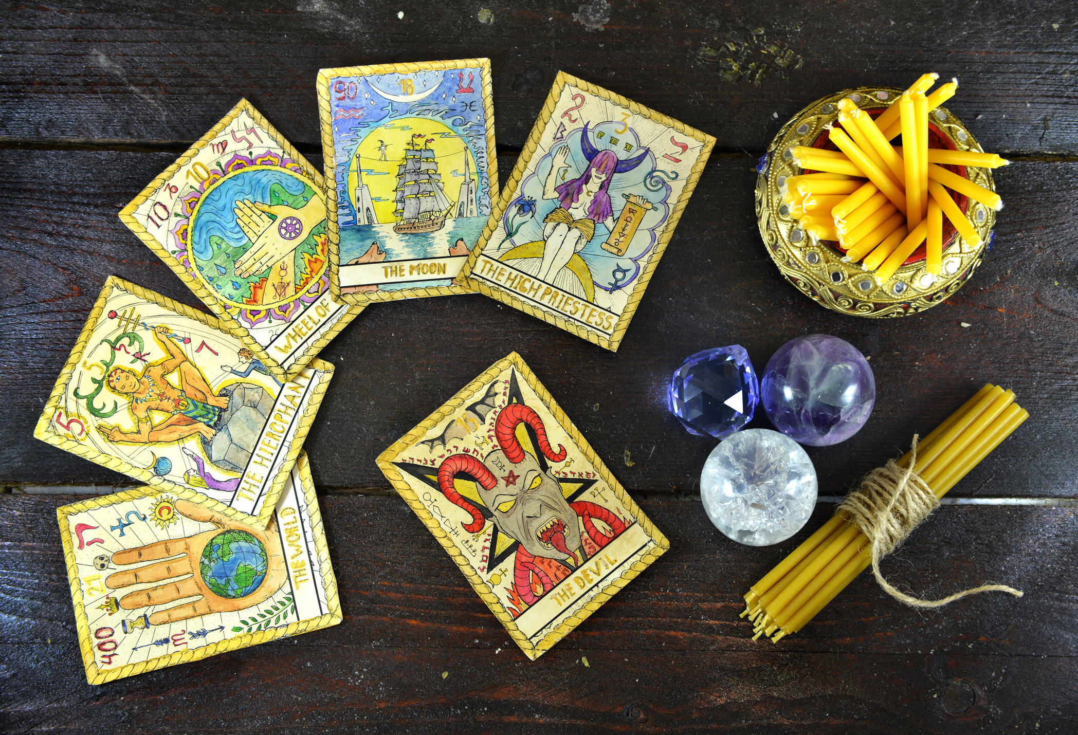 pagan ritual items and tarot cards