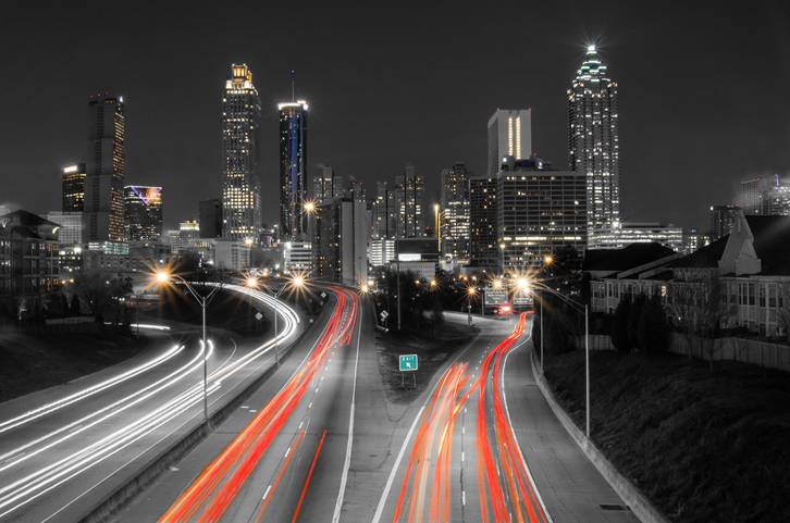 Long exposure night shot of Atlanta
