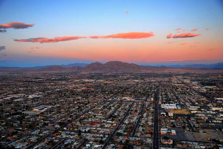 Las Vegas sunset panorama aerial view.