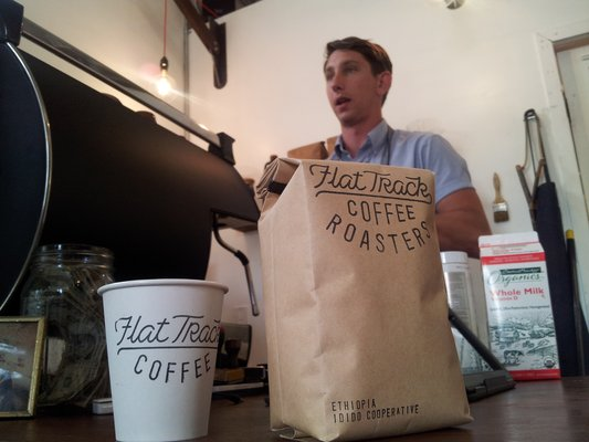 Brews, beans, and barista Matt Bolick at Flat Track's Cesar Chavez location.