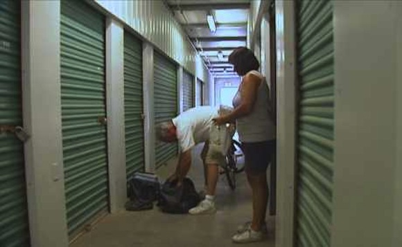 homeless couple storage unit