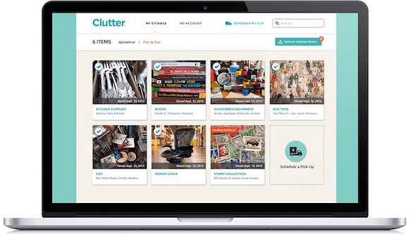 Clutter customers can review their storage inventory online.
