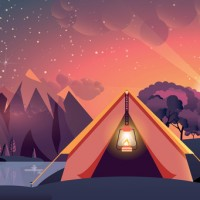 night landscape, mountains, sunset, travel, hiking, nature, tent, campfire, camping