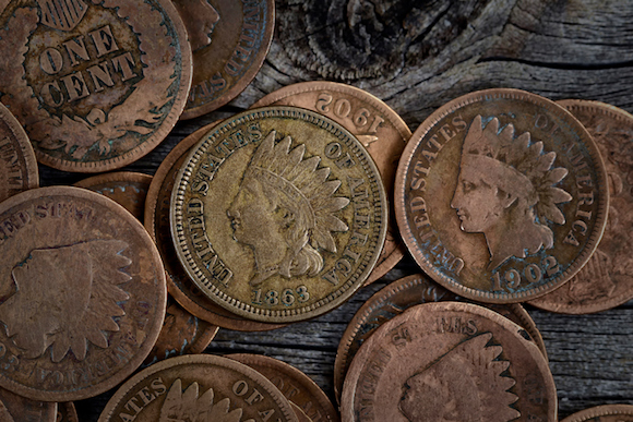 Rare Penny Coins on Wood