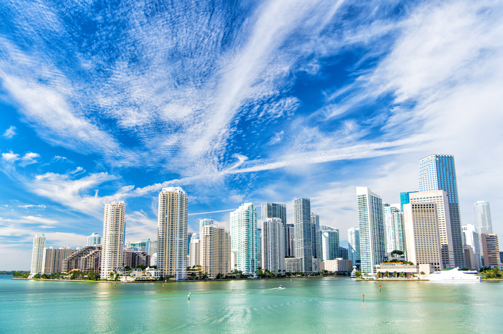 Miami, Seascape with skyscrapers in Bayside