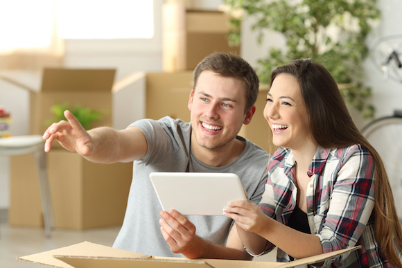 Couple planning furniture relocation