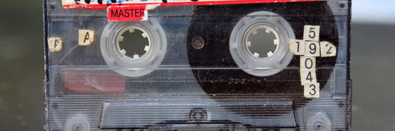 Audio cassette close up.