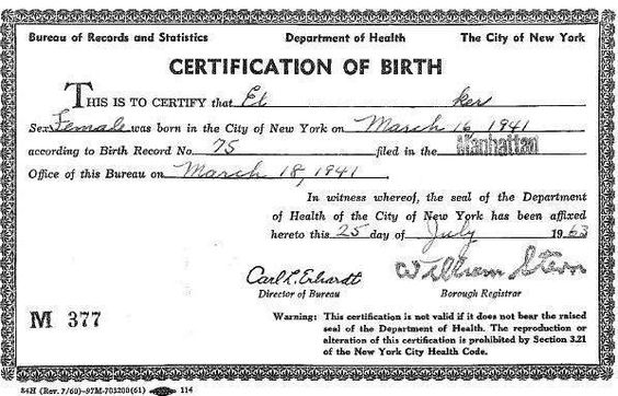Birth Certificate for El