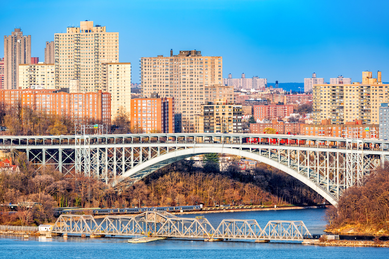 Henry Hudson Bridge spans Spuyten Duyvel Creek,