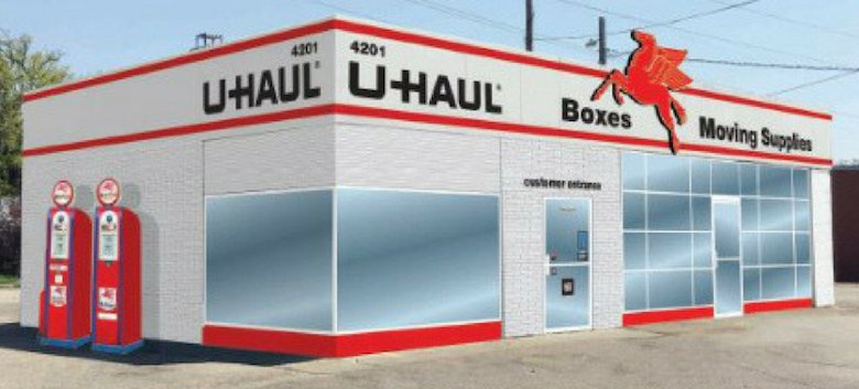 U-Haul would use the service station building as a showroom and office for its facility.